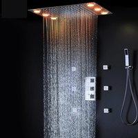 샤워 꼭지 온도 조절 식 숨겨진 천장 욕실 세트 원격 컨트롤러 대형 강우 패널 키트 세트