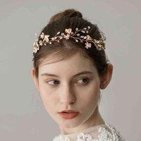 Leiin Gold Bride Leaf Vine Crystal Halo Bridal Jewelry Accesorios para el cabello