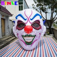 Club party use Hanging Lighting inflatable clown head 3M Printing Inflatables Skeleton Face Funny Concert For Halloween Decoration