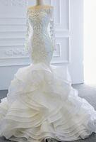 Lace Applique Long Sleeve Off Shoulder Wedding Dress Dubai Arabic Style Mermaid Bridal Gowns Custom