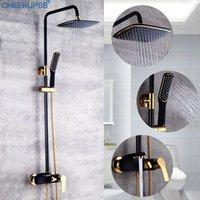Sistema de ducha de baño Sistema de lluvia negra Blanco Mezclador frío Baño Tapón de altura Lluvia ajustable montada en la pared con sets de mano