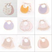 Newborn Burp Cloths Bibs Baby Tassel Floral Bandana Printed INS Fashion Waterproof Pure Cotton Saliva Scarves Towel DWB7151 1943 Y2