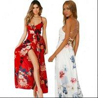 Weoist Chiffon Vestidos Floral Maxi Kleid Sommer Frauen Sexy Party Spaghetti Strap Sommerkleid Boho Beach High Backless Womens Kleider