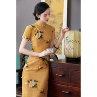 Vintage Women Print Flower Cheongsam Slim Sexy Handmade Button Robe Gown Chinese Style Ladies Evening Party Dress Classic Qipao Ethnic Cloth