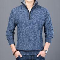 جديد أزياء سترة الرجال نصف البريدي البلوزة سليم صالح لاعبا تريكو سميكة الخريف عارضة الملابس الذكور WJL1175