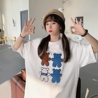 Women's T-Shirt Korean Style Women Loose Crew Neck Embroidered Short Sleeve Plus Size Cartoon Tops For Summer Female Cute Bear Tee