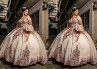 Sparkly Rose Gold Sequined Lace 2022 Ball Gown Quinceanera Prom Dresses Detachable Juliet Long Sleeves Formal Beads Corset XV Evening party dress Vestidos 15 Anos