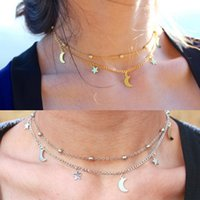 Fashion Multilayer Pendant Necklace Women Gold Silver Color Beads Moon Star Horn Crescent Double Chain Choker