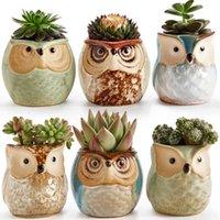 6 in 2.5inch Owl Céramique Flowing Glaze Base Set Succulent S Cactus Plant Plante Fleurs Pot de conteneur Jardinière cadeau