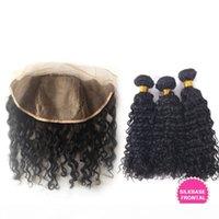 Malaisain des cheveux humains bouclés profonds avec des frontaines de la soie 4pcs lot cheveux malaisiens 13x4 en soie en soie en dentelle pleine dentelle avec des paquets de tissage