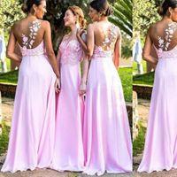 Hot Pink Garden Long Bridesmaid Dresses 2021 Lace Chiffon One-shoulder Beach Boho Junior maid of Honor Wedding Guest Gown Cheap
