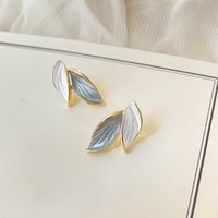 925 Silver For Colorimetric Leaf Stud Korean Style Simple Forest Temperament Earrings Fashion Personality dangler Jewelry Ladies Get Together Party Gifts