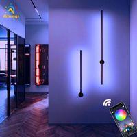 Minimalistische RGB Wandleuchte Modern Nordic App Control Hintergrund Light Indoor Beleuchtung Beleuchtung für Wohnzimmer Schlafzimmer LED Nachttischlampen Dekor