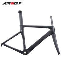 Airwolf Aero Carbon Fiber Road Bike Frame Fork Seatpost Bicycle Frameset Track Bikes Frames 700*23C V Brake 48 51 54 56cm 2 years warranty
