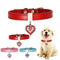 Collari per cani con campana Diamond Heart Bell Lovely Cat Collar Rhinestone a forma di cuore ACCESSORI PENDENTE Cucciolo Kitten Neacklace WLL461