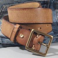 Belts Vintage 100% Cowhide High Quality Retro Non-interlayer Natural Leather Copper Buckle Men's Belt Jeans Casual Pants