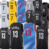 Brooklyns 13 Harden Jersey Kevin 7 Durant Kyrie 11 Basketball Irving Trikots Schwarz 2021 Stadt Blau Uniform Neue Saison Basketball Jesreys Top Nähen S-XXL