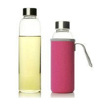 Glass Water Bottle 280ml 360ml 550ml Sport Bottle with Stainless Steel Lid and Protective Bag BPA Free Travel Drink Bottle