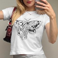 Women's T-Shirt Summer Ins Style Fashion Butterfly Print Womens Casual Daily Round Neck White Short-sleeved Top -40