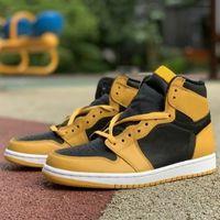 1 Высокий ОГ Пыльца Обувь Черный Желтый Открытый Кроссовки Jumpman 1S Тренеры Повседневная Обувь