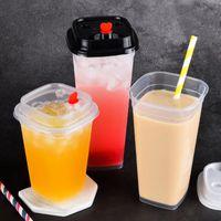일회용 컵 빨대 25pcs 정사각형 우유 차 컵 과일 주스 음료 플라스틱 400ml 투명 두꺼운 포장 요구르트 푸딩 젤리 뚜껑