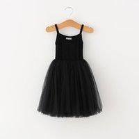 Baby Girls Lace Tulle Sling Dress Crianças Suspender Mesh Tutu Princesa Vestidos 2021 Verão Boutique Crianças Roupas 4 Cores C6257999
