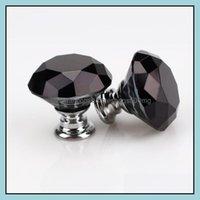 Handles Pls Hardware Building Supplies Home & Gardenknob Fashion 30Mm Diamond Crystal Glass Door Knobs Der Cabinet Handle Knob Screw Furnitu