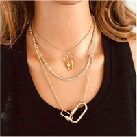 Creative Cross Link Button Pendant Necklaces Fashion Retro Design Alloy Geometric Pendant Carabiner Personality Diamond Clavicle Chain Simple Neck Jewelry Gifts