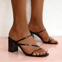Dress Shoes HKXN 2021 Summer Slippers Low Heels Slides Female Peep Toe Square Heel Slipper Sandals Big Size 41 Flip Flops