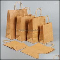 Wrap Event Festive Supplies Home & Garden6Pcs White Kraft Recycled Paper Bag With Handles For Wedding Shop Gift Packaging Retail Party Busin