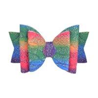 3.5inch Glitter Bow Cabelo De Cabelo De Cabelo Girls Bowknot Gradiente Arco-íris Color Pins Pins Lantejoulas Barrete Acessórios De Cabelo Cocar 404 K2