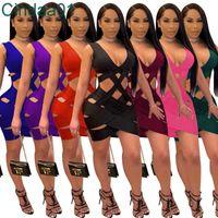 Diseñador de mujer Diseñador Slim Sexy Weave Falda hueco fuera en V Cuello Sin mangas Tolla Asimétrica Sin mangas S Falda Color Sólido