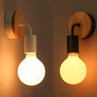 Wall Lamps Modern Wood Lamp Vintage Industrial Indoor Lighting Bedside Black LED Sconce Light Up Down For Home Bedroom Fixtures