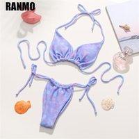 Sexy Tie Dye Bikini Costumi da bagno 2021 Donne Bra imbottita Bikini Bandaggio Push Up Costume da bagno Costumi da bagno Costumi da bagno femminile Beach Abbigliamento donna estate