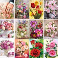 Diamond Painting 5D DIY Flower Rhinestone Picture Embroidery Vase Rose Mosaic Art Cross Stitch Kit Home Decoration Gift