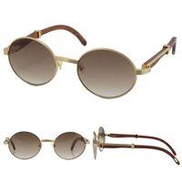 Toptan 18 K Altın Vintage Ahşap Güneş Gözlüğü Moda Metal Çerçeveleri Erkekler Gözlükler için Gerçek Ahşap 7550178 Oval Size57 veya 55