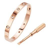 Modische Edelstahl Silber 18 Karat Gilt Rose Gold Armbänder Frauen Männer Schraubendreher Armband Schmuck mit Original Tasche