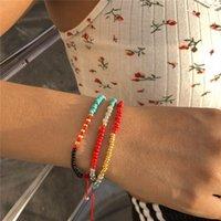 Charm Bracelets Vintage Ethnic Style Acrylic Beaded Crystal Braided Bracelet Ladies Fashion Adjustable Multi-layer Jewelry