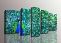 5 шт. / Компл. Безразрешенная гордость Peacock зеленое перо синий масляный маслом живописи на холсте стена искусства изображения для домашнего декора