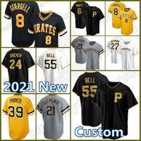 55 Josh Bell Custom Pirates Jersey 21 Roberto Clemente Baseball 8 Willie Stargell 6 starling Marte Parker Archer Tekulve 25 Gregory Polanco