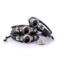 Charme Bracelets Coréen Squid Jeux Masque Masque Square Triangle Ronde Verre Snap Tapis En Cuir Bijoux Réglable