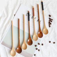 Spoons 1PC Natural Wooden Large Long Handled Spoon Kids Rice Soup Dessert Coffee Tea Utensil Handmade Home Tableware