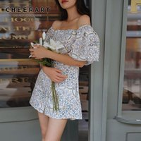 Casual Dresses CHEERART Sicily Off Shoulder Holiday Dress Women Vintage Floral Print Tunic A Line Short Sleeve Mini Beach 2021 Clothing