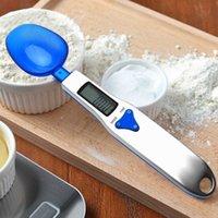 Haushaltswaagen Stil 500g / 0.1g Tragbare LED Elektronische Löffel Nahrungsmittel Diät Blaue Küche Digital Skala Messwerkzeug Kreative GI 4L51