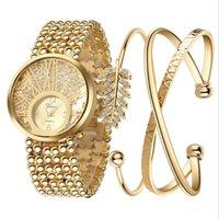 ginaveヨーロッパとアメリカのダイヤモンドクォーツレディースウォッチ18Kゴールドリーフブレスレットカジュアルセット絶妙な腕時計