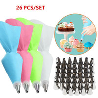 26Pcs Set Silicone Pastry Bag Tips Kitchen Cake Icing Piping Cream Decorating Tools Reusable Bags+24 Nozzle Set Baking &