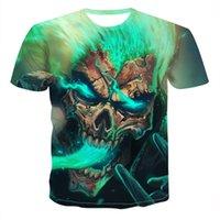 2020 여름 두개골 악마 테마 망 티셔츠 공포 3D 탑스 패션 티셔츠 남성 O 넥 셔츠 소년 의류 플러스 사이즈 Streetwearsoccer Jersey
