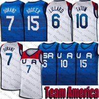 Verão Olímpicos Equipa EUA Jersey Devin 15 Booker Kevin 7 Durant Jerseys Damian 6 Lillard Jayson 10 Tatum Jersey Branco Azul