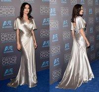 Angeline Jolie Formal Evening Dress Red Carpet Backless Silver Satin pleated Long Celebrity Prom Dresses vestidos de fiesta