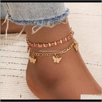 Drop Delivery 2021 Fashion Style Butterfly Anklets For Women Boho Ankle Chain Red Rhinestone Beaded Summer Beach Foot Jewelry Christmas Gift